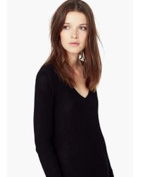 Mango   Black Ribbed Sweater   Lyst