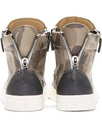 Giuseppe Zanotti - Brown Grey Leather Camo High_Top Sneakers for Men - Lyst
