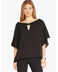 Halston - Black Hammered Silk Poncho Top - Lyst