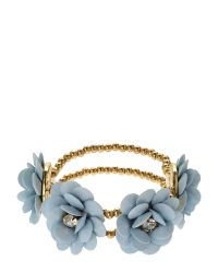 Natasha Couture - Metallic Light Blue Flower Bracelet - Lyst