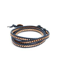 Link Up - Blue Leather Wrap Bracelet for Men - Lyst