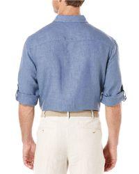 Perry Ellis | Blue Linen Roll-sleeve Sportshirt for Men | Lyst