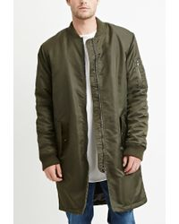 Forever 21 | Green Zippered Longline Bomber Jacket for Men | Lyst