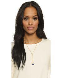 Noir Jewelry - Metallic Stone Lariat Necklace - Lapis/gold - Lyst