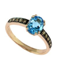 Effy | Bleu Rose 14 Kt. Rose Gold Blue Topaz And Diamond Ring | Lyst