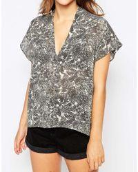 Ganni   Gray Short Sleeeve Floral Shirt   Lyst