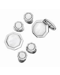 Jan Leslie | Metallic Mother-Of-Pearl Octagonal Cuff Link & Stud Set | Lyst