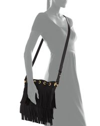 Saint Laurent - Black Small Suede Fringe Bucket Bag - Lyst