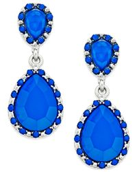 Style & Co. - Silver-tone Blue Pavé Teardrop Earrings - Lyst