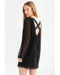 Kimchi Blue - Black Long-Sleeve Chiffon Cross-Back Dress - Lyst