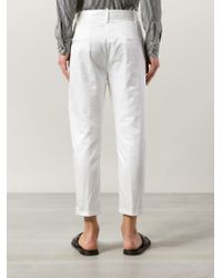 Ann Demeulemeester - White Cropped Sheen Trousers for Men - Lyst