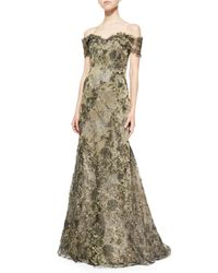 Rene Ruiz - Green Off-The-Shoulder Lace Mermaid Gown - Lyst