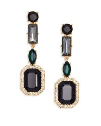 kate spade new york | Black Art Deco Gems Linear Earrings | Lyst