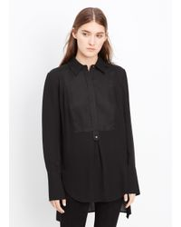 VINCE | Black Silk Tuxedo Inset Blouse | Lyst