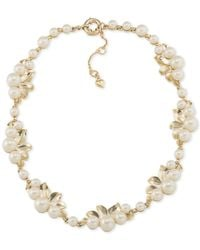 Carolee | White Gold-tone Faux Pearl Cast Leaf Necklace | Lyst