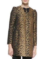 RED Valentino - Multicolor Bow-Neck Heart Leopard-Print Topper - Lyst