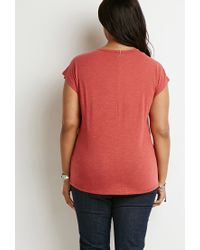 Forever 21 - Brown Plus Size Fringe-trim Tee - Lyst