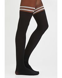 Forever 21 - Black Varsity-striped Tights - Lyst