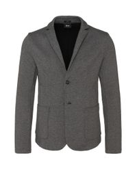 BOSS - Gray Slim-fit Jacket In Cotton: 'davoli 11' for Men - Lyst