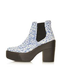 TOPSHOP | Blue Anny Leopard Chelsea Boots | Lyst