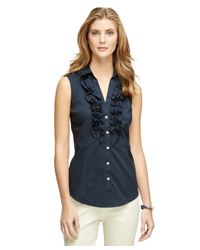 Brooks Brothers | Blue Sleeveless Ruffle Dress Shirt | Lyst