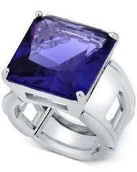 T Tahari | Blue Silver-tone Purple Crystal Cocktail Stretch Ring | Lyst