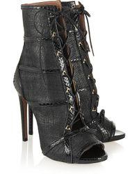 Alaïa - Black Watersnake-Trimmed Raffia Ankle Boots - Lyst