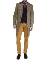 Jules B - Green Wool Tweed Overcoat for Men - Lyst