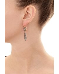 Queensbee - Metallic Bow And Feather Earring - Lyst