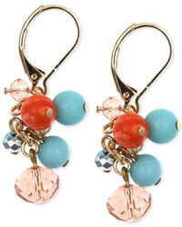 Jones New York | Blue Gold-tone Multi-color Bead Cluster Earrings | Lyst