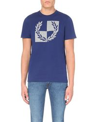Fred Perry | Blue Checkerboard Cotton-jersey T-shirt for Men | Lyst