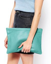 American Apparel - Blue Leather Clutch in Cool Aqua - Lyst