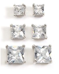Lord & Taylor | Metallic Three-pack Stud Earrings | Lyst