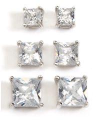Lord & Taylor - Metallic Three-pack Stud Earrings - Lyst
