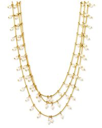 Anne Klein | Metallic Gold-tone Three Row Imitation Pearl Layered Necklace | Lyst