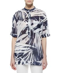 Lafayette 148 New York - Multicolor Cecilia Short-sleeve Printed Blouse - Lyst