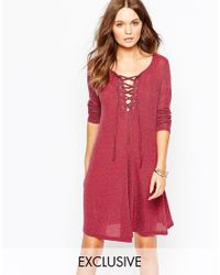 Glamorous | Pink Metallic Swing Dress With Lace Up | Lyst