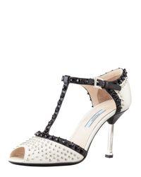 Prada - Black Studded Tstrap Sandal - Lyst