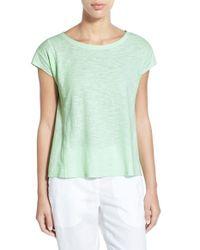 Eileen Fisher | Green Hemp & Organic Cotton Ballet Neck Top | Lyst