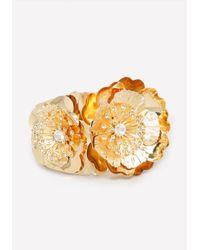 Bebe | Metallic Metal Flower Bracelet | Lyst