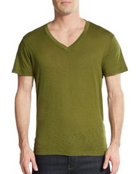 Splendid Mills | Green Pima Cotton V-neck Tee for Men | Lyst