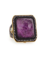 Armenta | Purple Square Lavenderite/Quartz Ring | Lyst