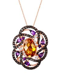 Le Vian - Pink 14k Strawberry Gold Multi Semiprecious Stone Flower Pendant - Lyst