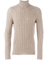 Isaia | Natural Cable-Knit Roll-Neck Cashmere Sweater for Men | Lyst