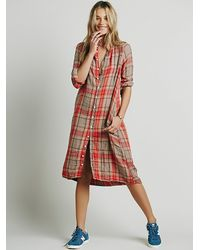 Free People | Red Plaid Maxi | Lyst