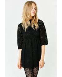Motel | Black Luella Lace Babydoll Dress | Lyst