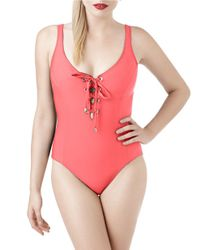 Miraclesuit | Pink Lace Up One Piece Swimsuit | Lyst
