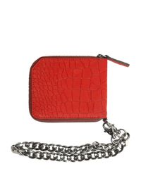 Jimmy Choo - Red Embossed Nubuck Coin Wallet W/ Chain for Men - Lyst