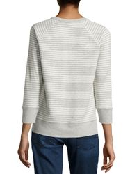 James Perse - Blue Striped Raglan Sweatshirt - Lyst
