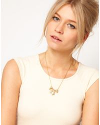 Ted Baker | Metallic Pave Crystal Small Bow Necklace | Lyst